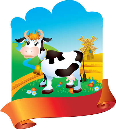 milk production: Cow against a rural landscape with mill