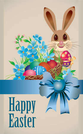 Easter basket and rabbit with egg and bow Vector
