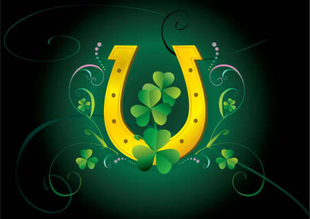 Green patrick card with horseshoe and clover Vector