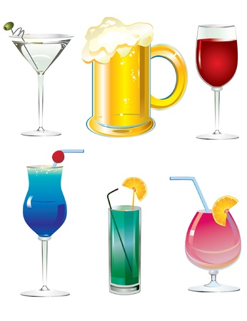 alcoholic drinks: An illustrated set of fancy drink cocktails isolated on white  Illustration