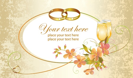 wedding rings: Card with heart, wedding rings, flowers and champagne glasses