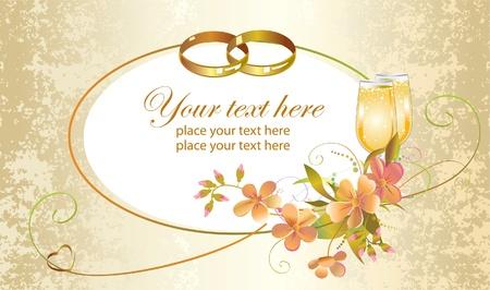 anillos de boda: Tarjeta con el coraz�n, los anillos de boda, las flores y copas de champ�n