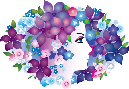 butterflies and flowers: Beautiful woman with hair made of flowers