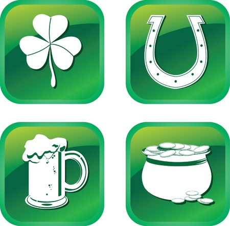 Green patrick symbols icons with clover, pot, beer and horseshoe Vector