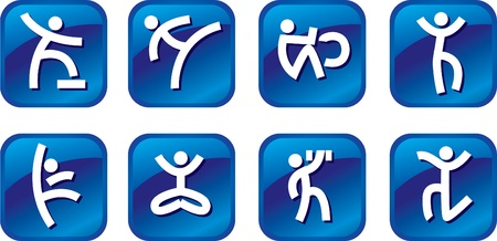 sports symbols metaphors: Blue icons with the stylized person doing exercises