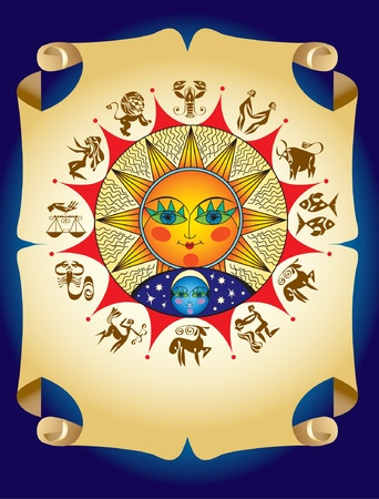 Horoscope symbols with sun and moon