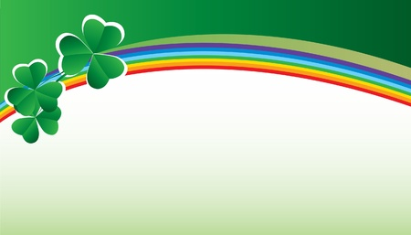 Patrick decorative card with shamrock and rainbow Vector