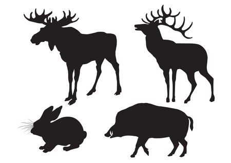 Silhouettes of wood animals   Elk, deer, wild boar, hare Vector