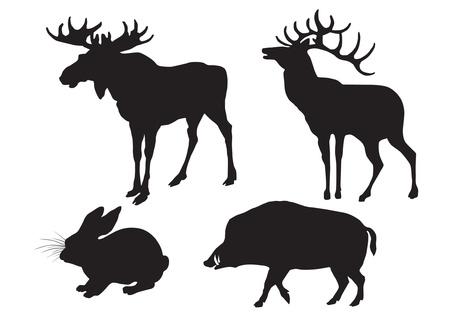 liebre: Siluetas de madera de animales alce, venado, jabalí, liebre Vectores