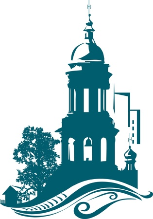 architecture logo: The stylized belltower of church against a city