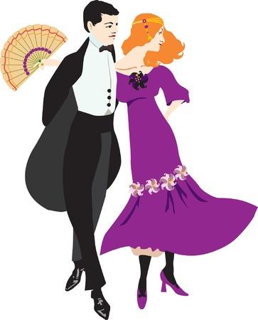 Dancing retro the woman and the man Иллюстрация