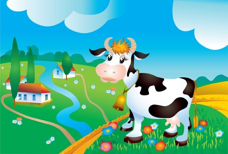 Cow against a rural landscape Vector