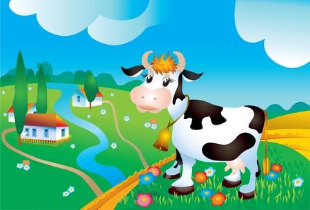 domestic scenes: Cow against a rural landscape Illustration