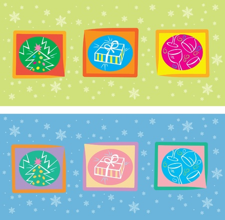 Decorative christmas card with christmas symbols Vector