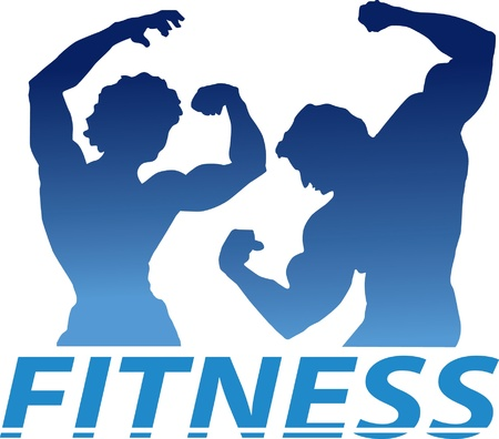 A blue letter fitness sign with a man s and female silhouette Vector