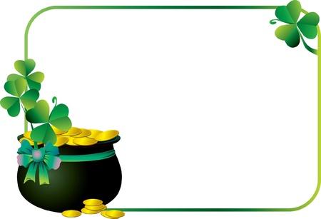 plant pot: Green frame with pot and shamrock Illustration