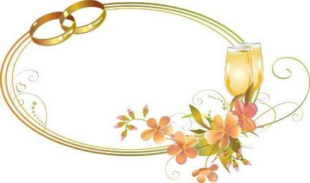Cadre avec des anneaux de mariage, des fleurs et les verres de champagne Vecteurs