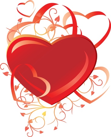 corazones: Heart with decorative ornament on white background