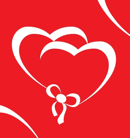 Hearts on red background with white ribbon Vector