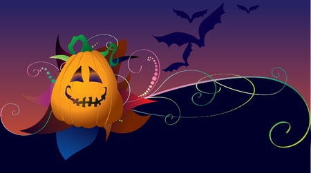 Halloween card with pumpkin and bats Stock Vector - 13200184