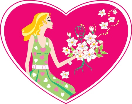 Card with heart  The beautiful girl with a bunch of flowers  Vector
