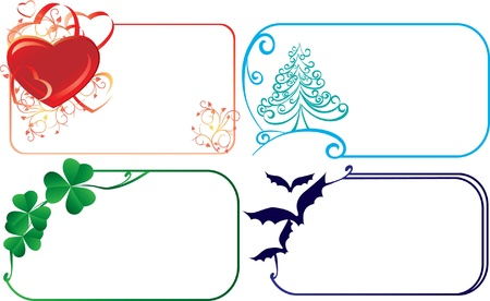 Set of holiday frame - for Christmas, Patrick, Halloween day and Valentine day Vector