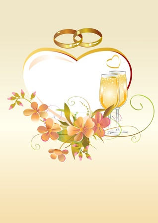 Card with heart, wedding rings, flowers and champagne glasses