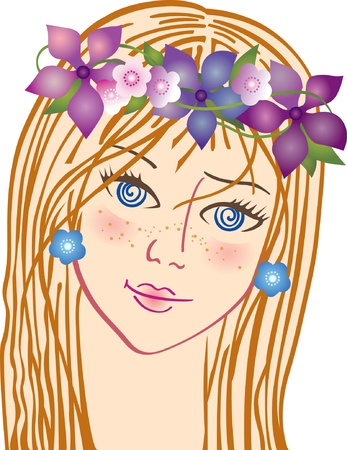 Beautiful woman with flowers in hair Vector
