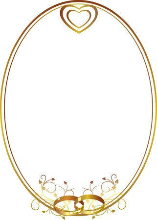 rings: Decorative gold frame with wedding rings and hearts