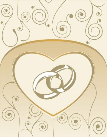 anillos boda: Tarjeta de boda con anillos de coraz�n y de la boda Vectores