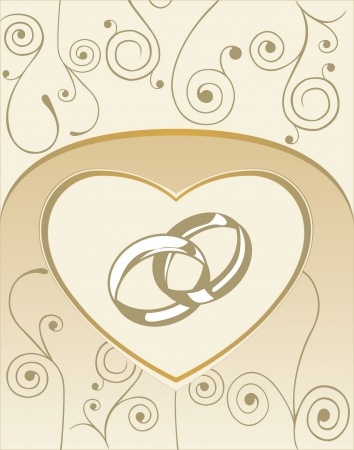 Wedding card with heart and wedding rings Vector