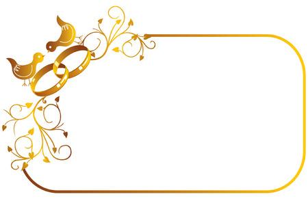 結婚指輪と鳥の装飾的なゴールド フレーム