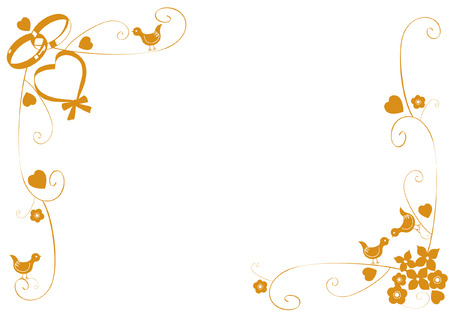 wallpaper rings: Decorative gold frame with wedding rings, hearts and birds Illustration