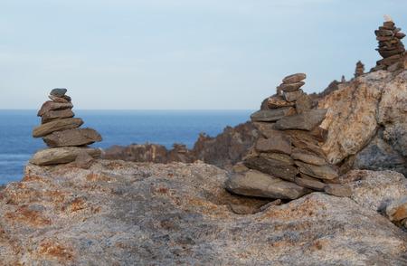 Stone pyramids on Cap de Creus natural park, Spain