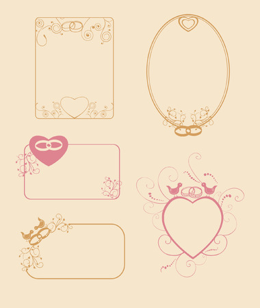corazones: Set of wedding frames with birds, rings and flowers