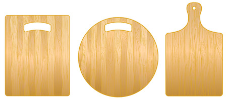 chopping: Wooden round and rectangular chopping boards