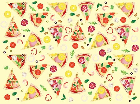 Pattern with slices of different pizza and ingredients on light yellow background