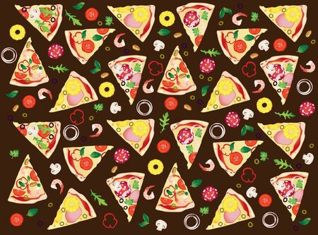 Pattern with slices of different pizza and ingredients on darkly brown background