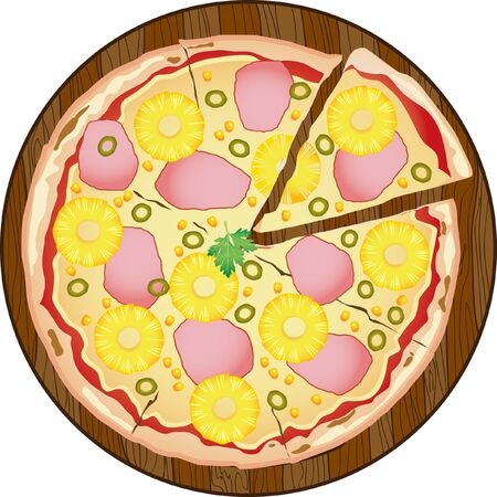 Pizza with ham and pineapple on circle wooden board. Pizza with ham, pineapple, corn, olive, parsley