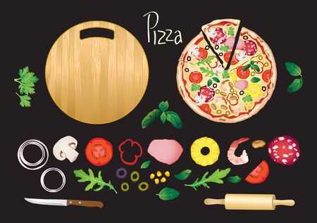 Different pizza and ingredients, circle wooden board, rolling pin and knife on black background