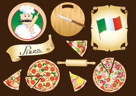 Set on the theme pizza with cook, circle wooden board, slices of different pizza, ribbon and italian flag 向量圖像