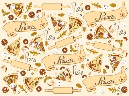 Pattern with slices of different pizza and ingredients in beige tones background