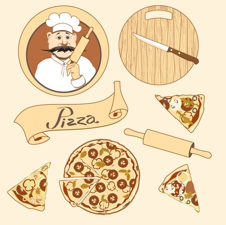 Set on the theme pizza with cook, circle wooden board, slices of different pizza, ribbon in beige tones