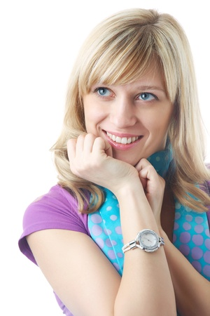 Portrait of attractive blonde woman on the white background  Stock Photo - 8736583