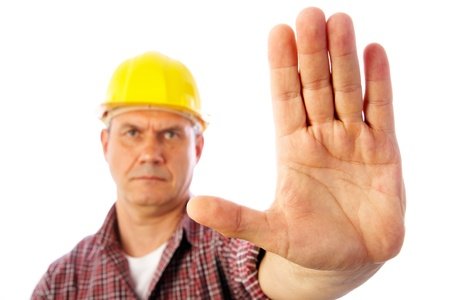 Close-up palm builder showing forbidding gesture stop