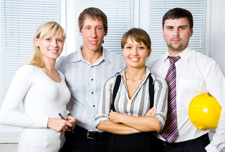 Portrait the young business team at the office Stock Photo - 9132039