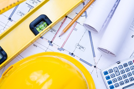 Close-up of various tools for construction and architecture Stock Photo - 9133565