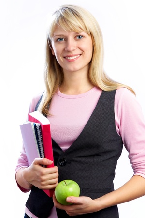 Portrait of Intelligence girl student with books on the white background Stock Photo - 10229313