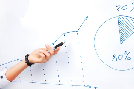 Womens hand shows the growth line on chart  photo