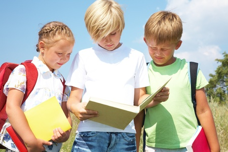 elementary age boy:  primary schoolchildren enjoying reading the same book, in the late afternoon sunshine Stock Photo